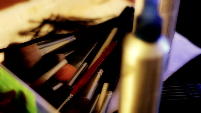 Makeup Artist's Brushes Lying on Table video