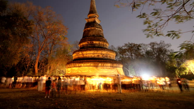 Makha Bucha Day at Wat Umong Chiang mai, Thailand video