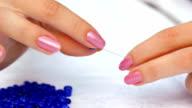 HD: Making Blue Bracelet for Decoration video