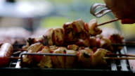 Making chicken kebabs video