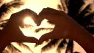 CLOSE UP: Making heart with hands over golden sun with lush palms in background video