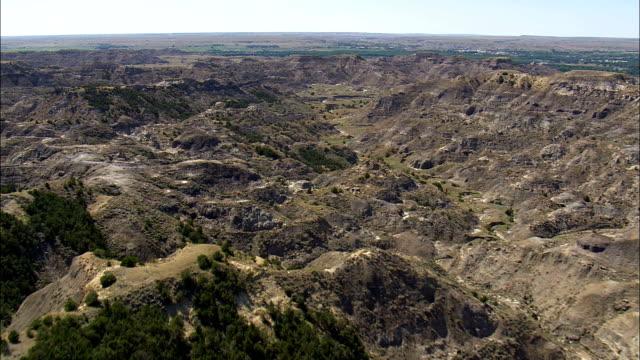 Makoshika State Park  - Aerial View - Montana, Dawson County, United States video