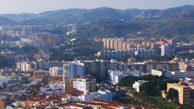 malaga city top panoramic view sunny day 4k video