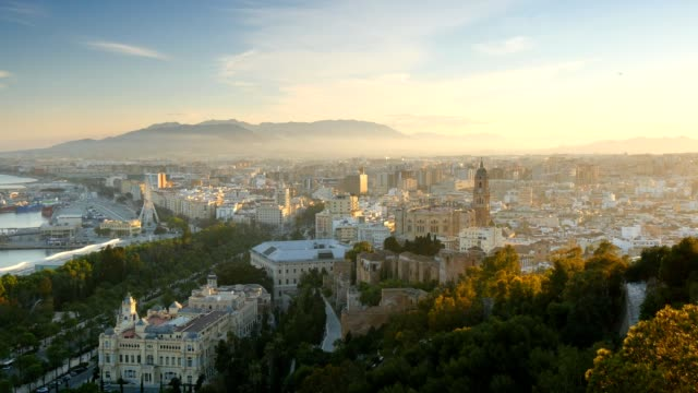 Malaga in sunset lights. Spain video