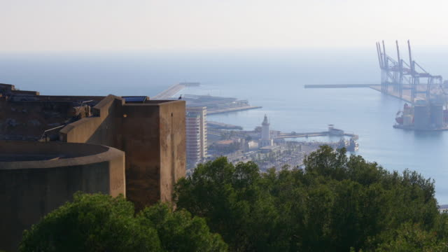 malaga sunny light city gibralfaro castle port view 4k video