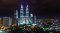 malaysia famous towers night light view 4k time lapse from kuala lumpur video
