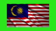 Malaysia flag waving,loopable on green screen video