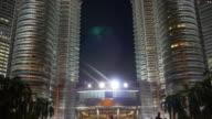 malaysia night light famous phot place near petronas twin towers up view kuala lumpur video