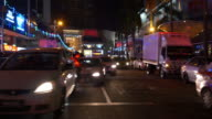 malaysia night light kuala lumpur center traffic street crosswalk video