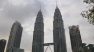 malaysia storm sky evening famous kuala lumpur petronas twin tower video