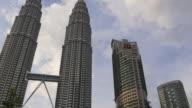 malaysia sunset evening kuala lumpur famous petronas twin towers panorama video