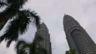 malaysia twilight famous kuala lumpur twin towers panoramic up view video