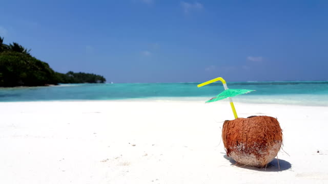 Maldives beautiful beach background white sandy tropical paradise island with blue sky sea water ocean 4k coconut video