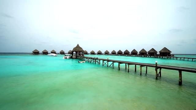 Maldives island resort with water bungalow video