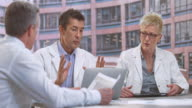 LD Male and female doctor in meeting with project manager video