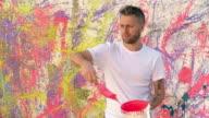 Male Artist Splatter Painting video