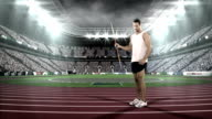 Male athlete about to throw a javelin video