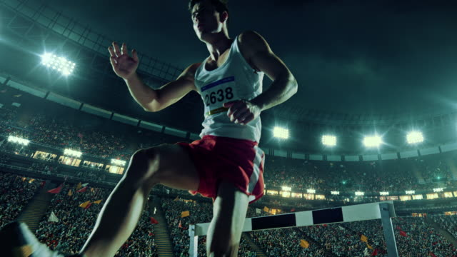 Male athlete hurdle on sports race video