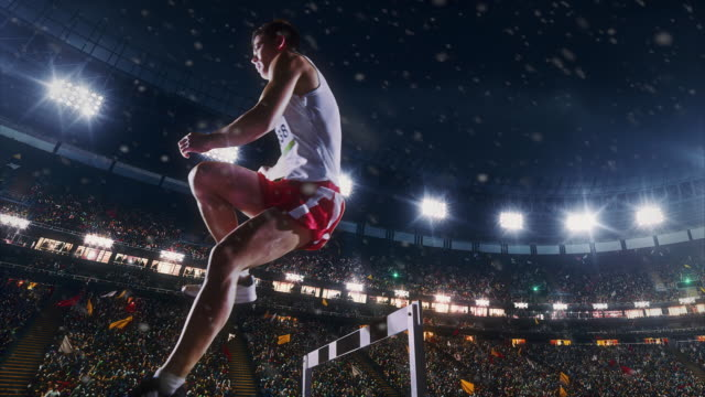 Male athlete hurdle video