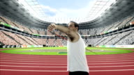 Male athlete throwing the javelin video