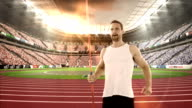 Male athlete warming up before javelin throw video