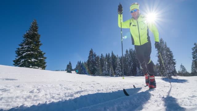 Male cross country skier in a winter landscape video