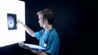 Male doctor at work in medical clinic examining x-ray plates of head video