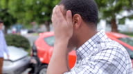 Male Driver Making Phone Call After Traffic Accident video