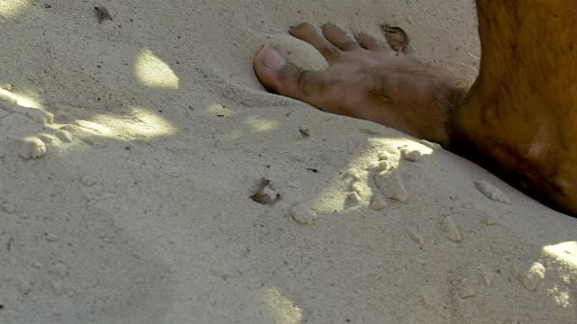 Male feet walking on sand video