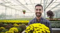Male florist at garden center video