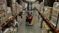 Male forklift truck driver working in distribution warehouse video