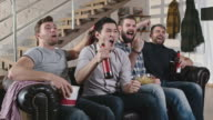Male Friends Enjoying Beer and Watching Game video