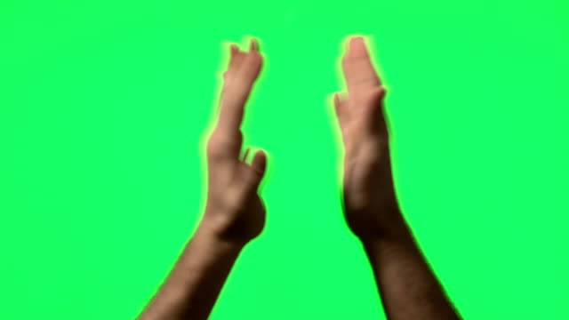 Male hand gestures on green screen video