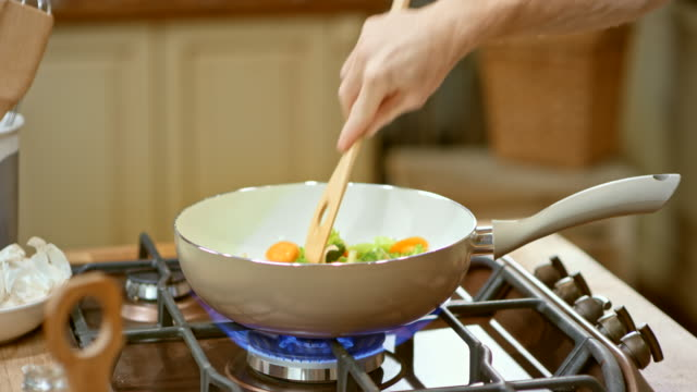 LD Male hand stirring vegetables in a white pan on the gas stove video