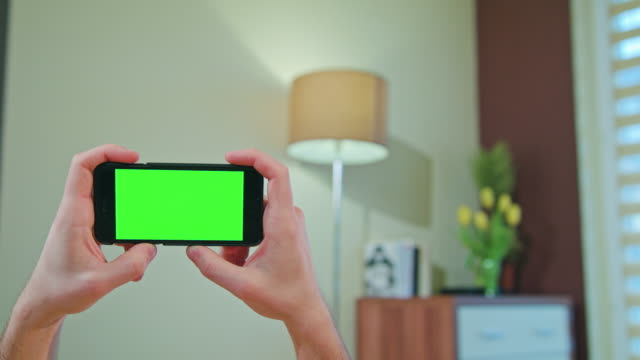 Male Hands Holding a Phone with a Green Screen video