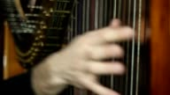 Male hands playing the harp video
