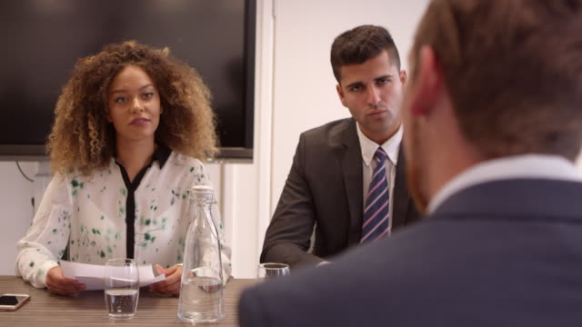 Male Job Candidate Being Interviewed In Office Shot On R3D video