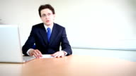 Male lawyer in client meeting video