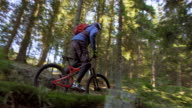 SLO MO Male mountain biker going up the forest trail video