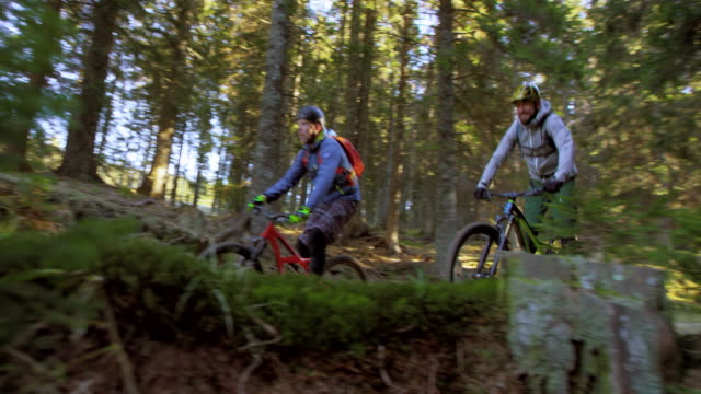 SLO MO Male mountain bikers riding through forest in sunshine video
