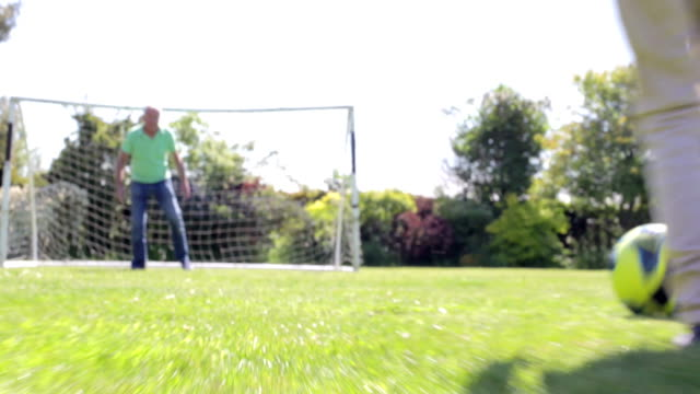 Male Multi-Generation Family Playing Football In Garden video