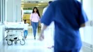 Male Patient Crutches Hospital Corridor video