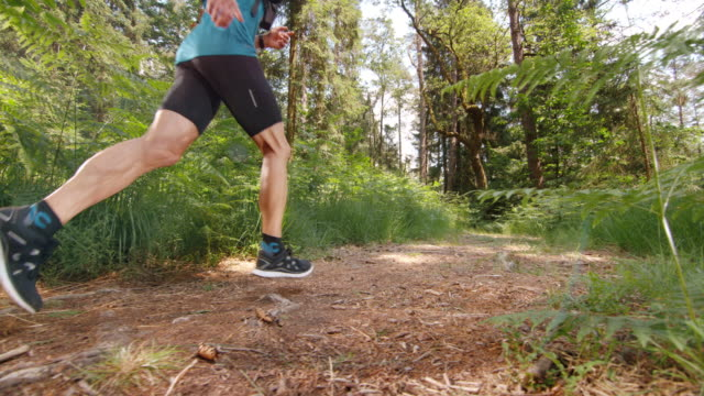 SLO MO DS Male runner running across a forest clearing video