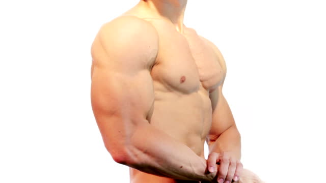 Male showing biceps video