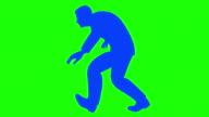 Male Silhouette Crouched Sneaking Loop Walk video