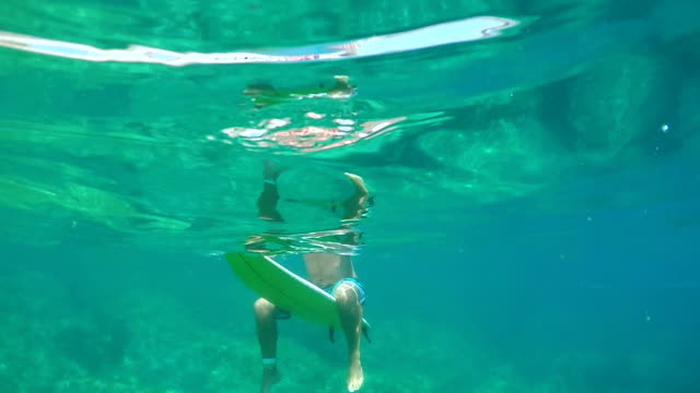 SLOW MOTION, UNDERWATER: Male surfer waiting in line up, sitting on surf board video