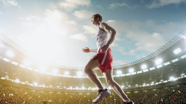 Male track and field runner video
