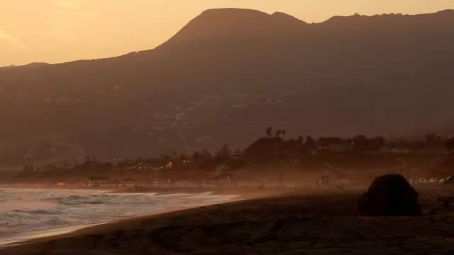 Malibu, California Sunset.  High Definition video at Point Dume State Beach just after sunset. video