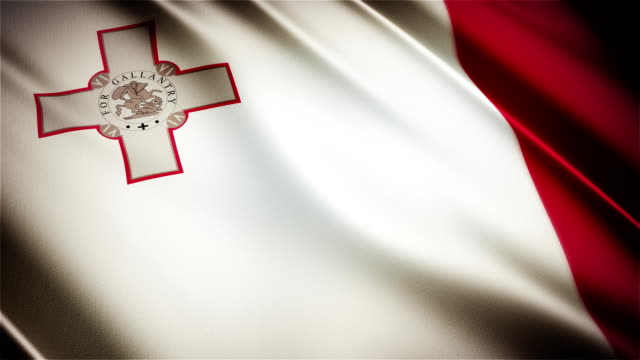 Malta realistic national flag seamless looped waving animation video