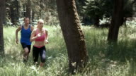 SLO MO DS Man and woman running through forest video